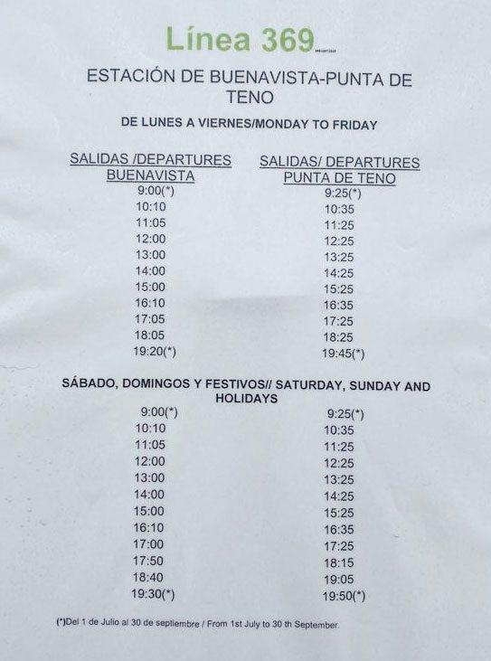Horarios de la Línea 369 Teno, Tenerife